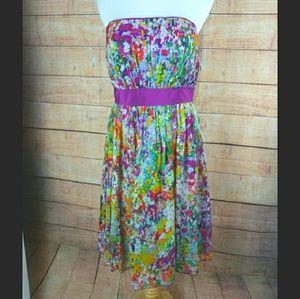 NWT Donna Morgan Colorful Silk Strapless Dress